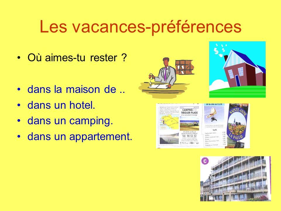 Les vacances-préférences Où aimes-tu rester ? dans la maison de.. dans un hotel. dans un camping. dans un appartement.