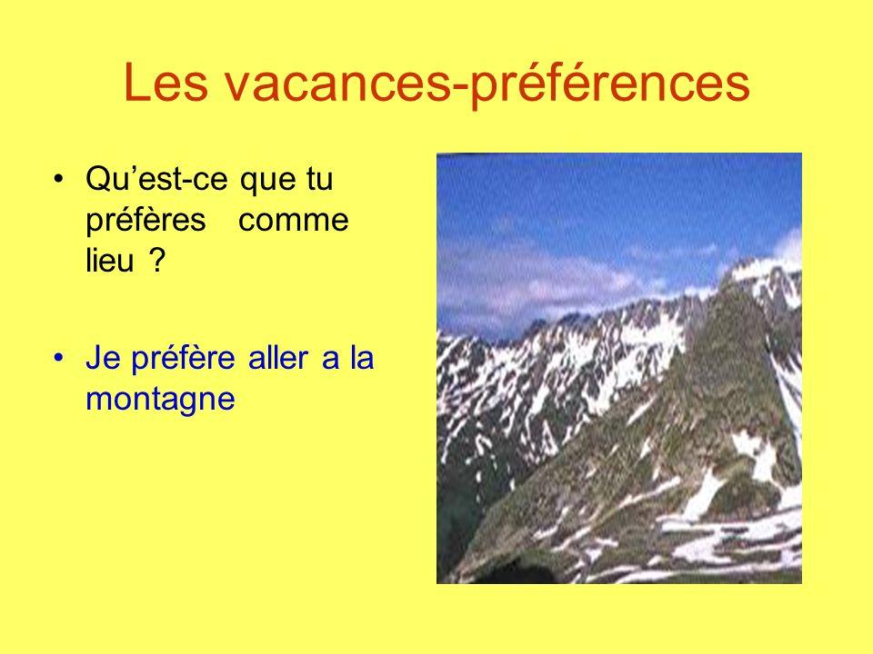 Les vacances-préférences Quest-ce que tu préfères comme lieu ? Je préfère aller a la montagne