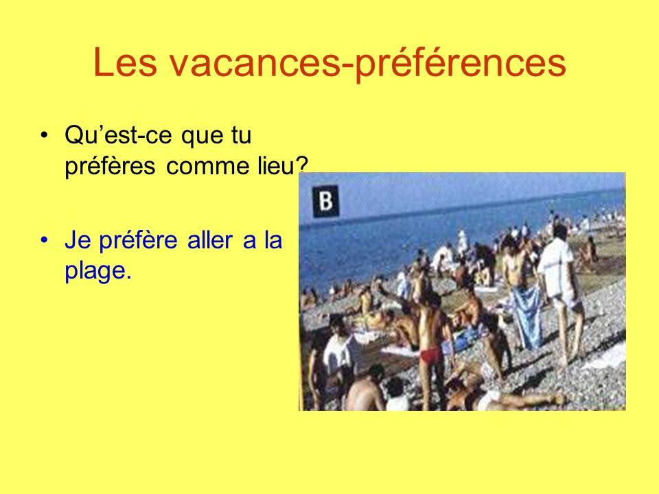 Les vacances-préférences Quest-ce que tu préfères comme lieu? Je préfère aller a la plage.