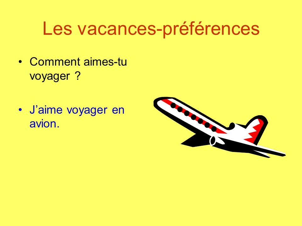 Les vacances-préférences Comment aimes-tu voyager ? Jaime voyager en avion.