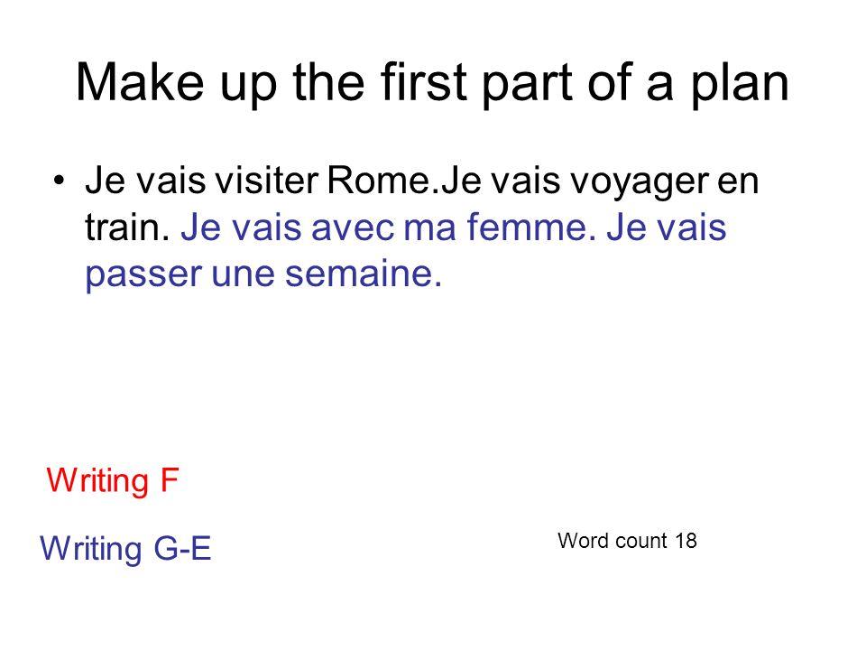 Make up the first part of a plan Je vais visiter Rome.Je vais voyager en train.