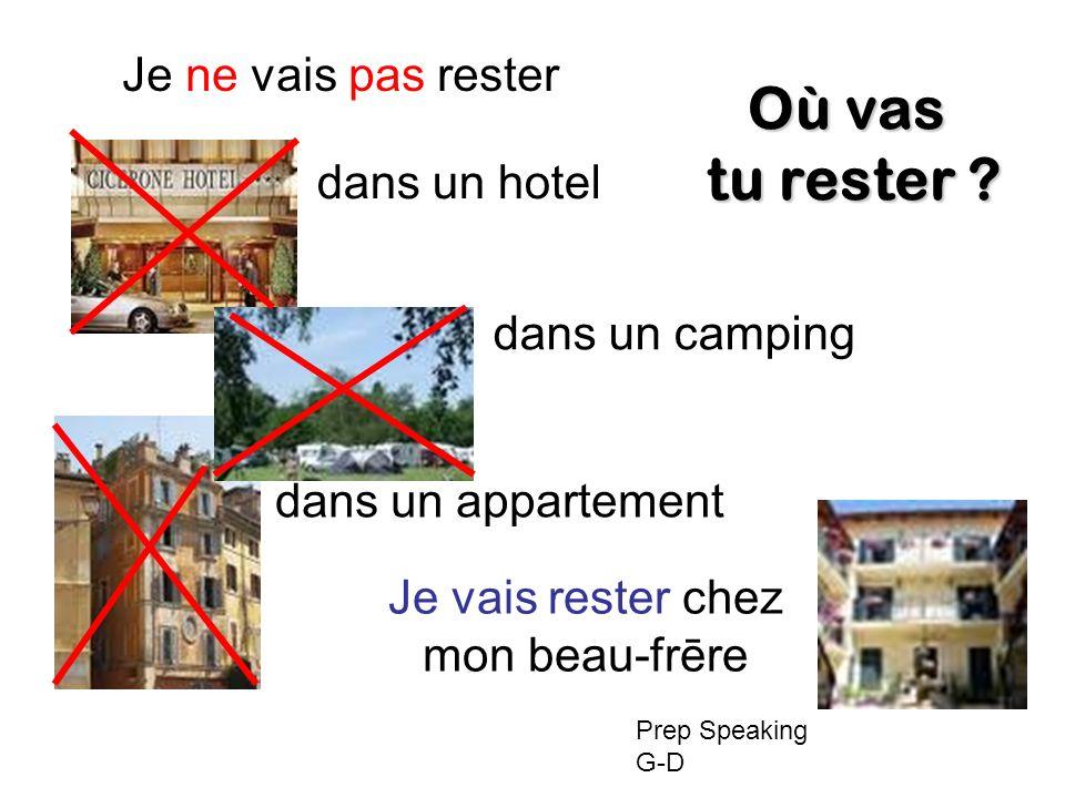 Je ne vais pas rester dans un hotel dans un camping dans un appartement Je vais rester chez mon beau-frēre Où vas tu rester .
