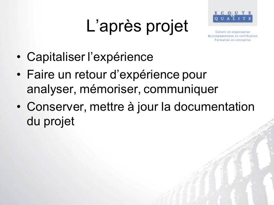 Laprès projet Capitaliser lexpérience Faire un retour dexpérience pour analyser, mémoriser, communiquer Conserver, mettre à jour la documentation du p