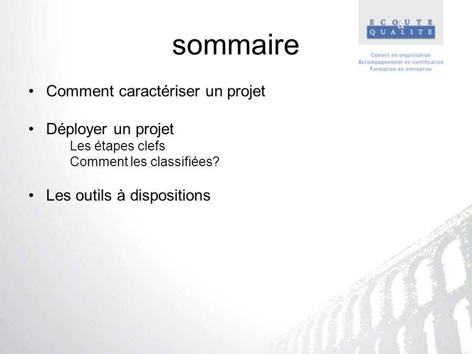 sommaire Comment caractériser un projet Déployer un projet Les étapes clefs Comment les classifiées? Les outils à dispositions