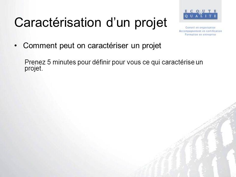 Caractérisation dun projet Comment peut on caractériser un projet Prenez 5 minutes pour définir pour vous ce qui caractérise un projet.