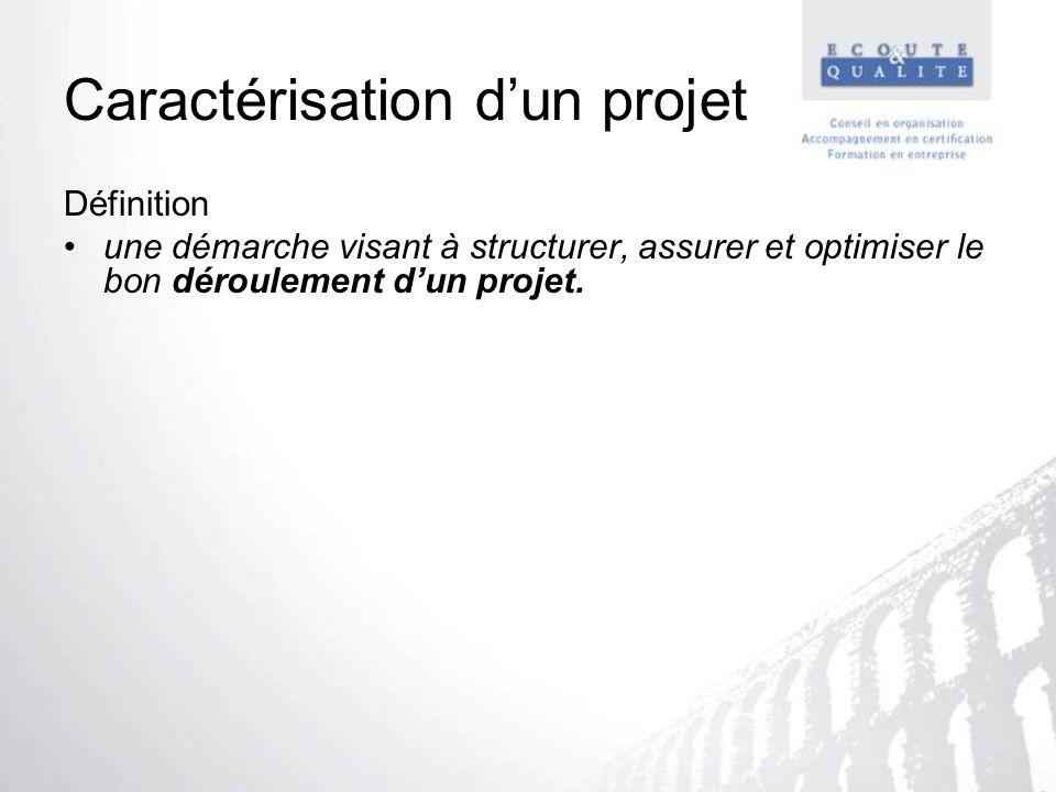Caractérisation dun projet Définition une démarche visant à structurer, assurer et optimiser le bon déroulement dun projet.