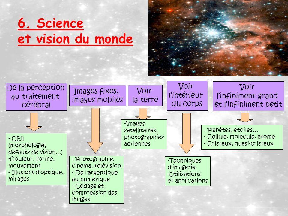 6. Science et vision du monde De la perception au traitement cérébral Voir lintérieur du corps Images fixes, images mobiles Voir linfiniment grand et