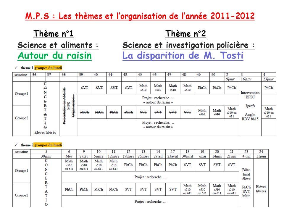 M.P.S : Les thèmes et lorganisation de lannée 2011-2012 Science et investigation policière : La disparition de M. Tosti Science et aliments : Autour d