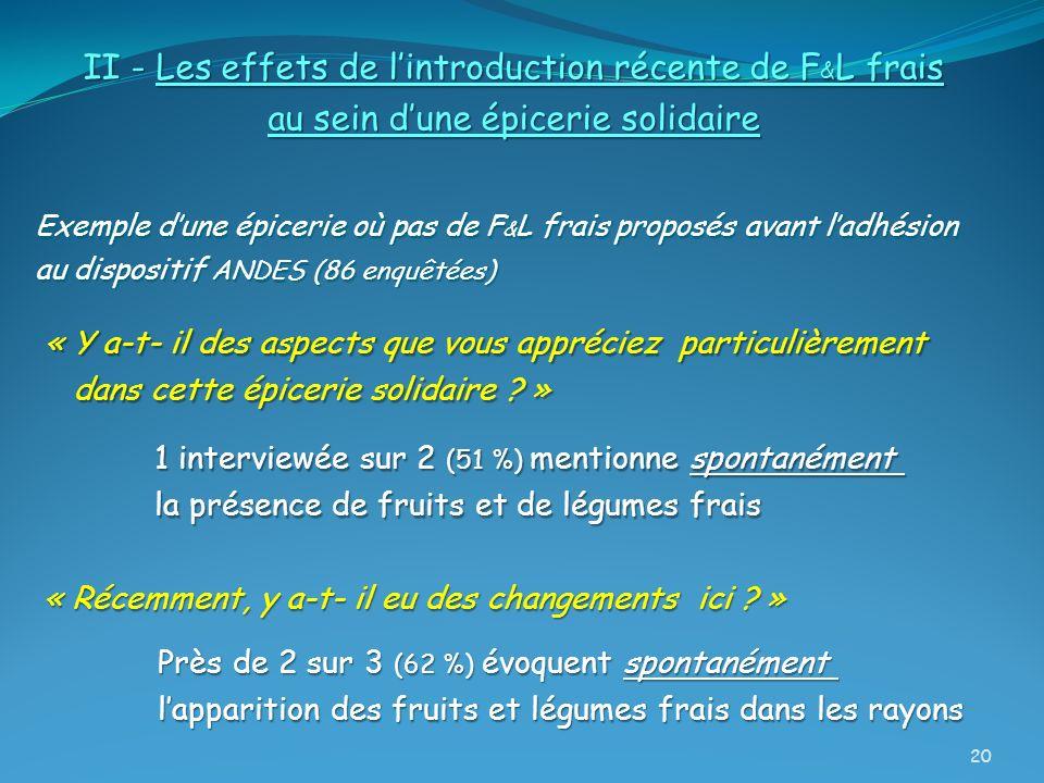 II - Les effets de lintroduction récente de F & L frais au sein dune épicerie solidaire Exemple dune épicerie où pas de F & L frais proposés avant lad
