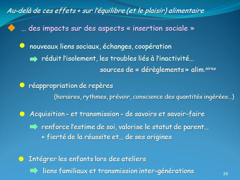 … des impacts sur des aspects « insertion sociale » nouveaux liens sociaux, échanges, coopération réduit lisolement, les troubles liés à linactivité…