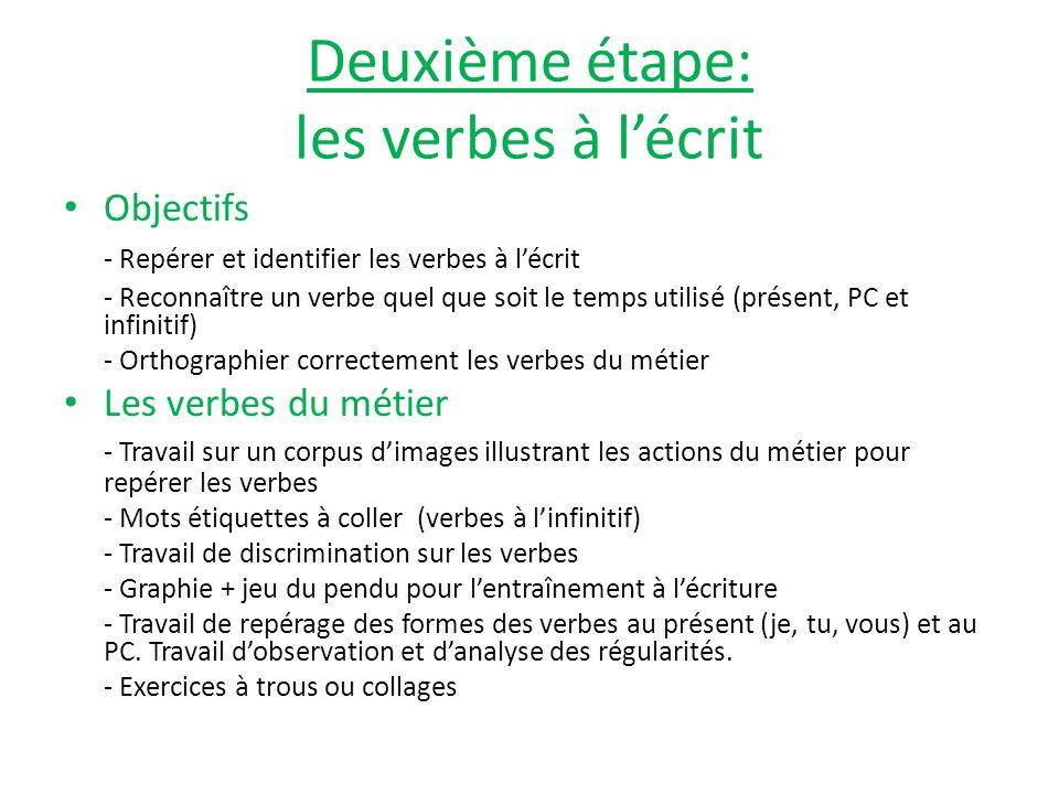 Deuxième étape: les verbes à lécrit Objectifs - Repérer et identifier les verbes à lécrit - Reconnaître un verbe quel que soit le temps utilisé (prése