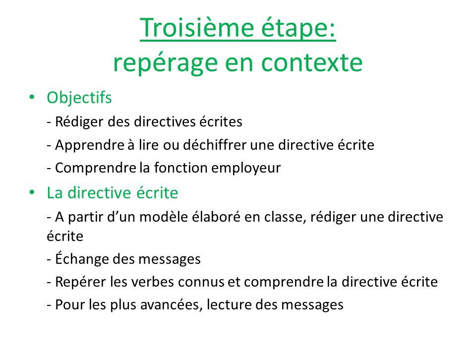 Quatrième étape: repérage hors contexte Objectifs - Repérer et identifier les verbes avec ou sans modèle - Apprendre à utiliser le mémento - Répondre à un message ou laisser un message en autonomie Activités - Lenveloppe de mots - Répondre à une directive écrite/laisser un message