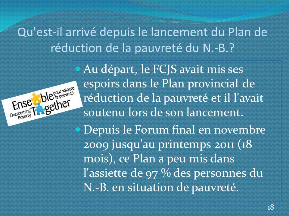 Qu'est-il arrivé depuis le lancement du Plan de réduction de la pauvreté du N.-B.? Au départ, le FCJS avait mis ses espoirs dans le Plan provincial de