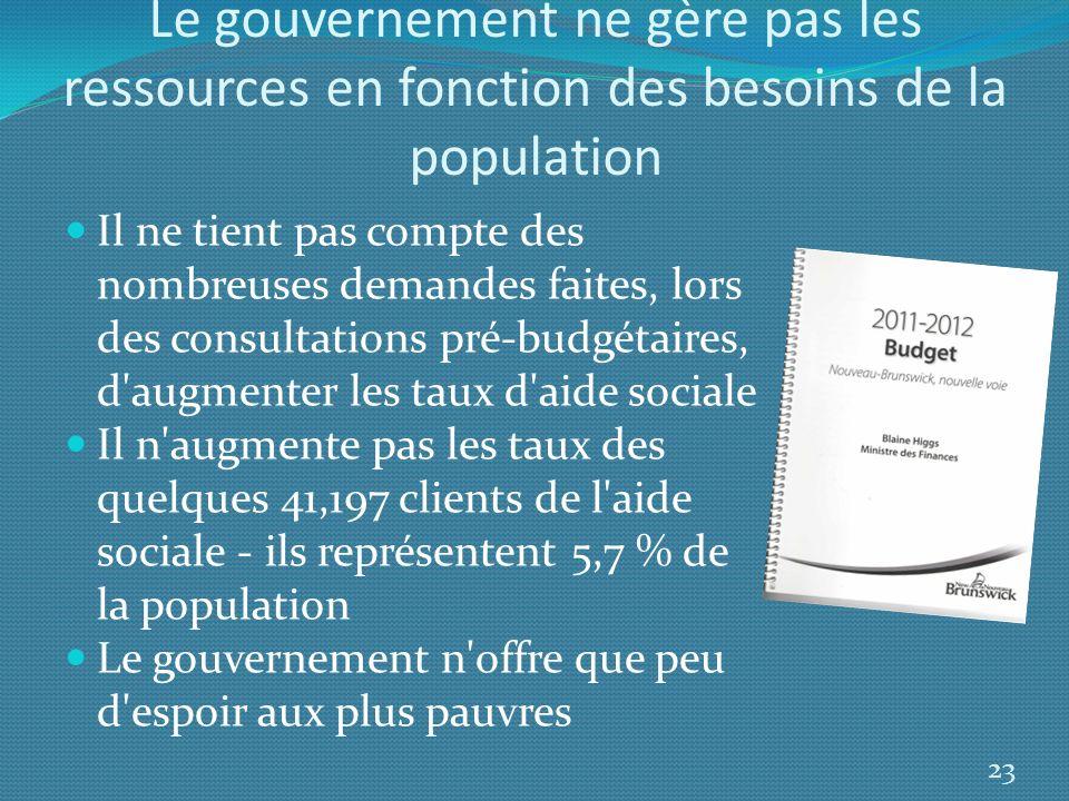 Le gouvernement ne gère pas les ressources en fonction des besoins de la population Il ne tient pas compte des nombreuses demandes faites, lors des co