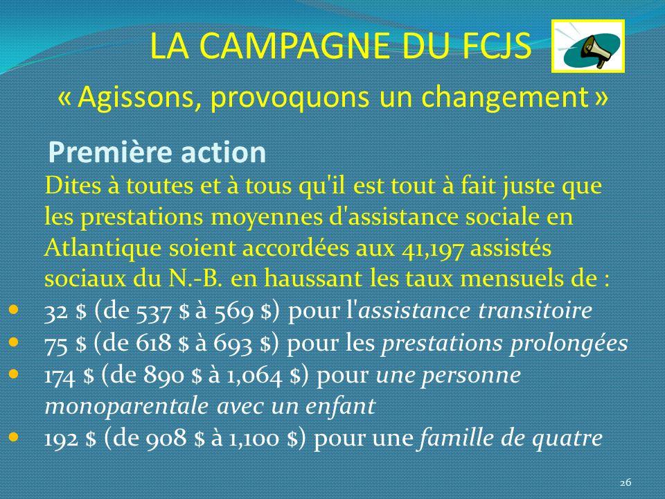 LA CAMPAGNE DU FCJS « Agissons, provoquons un changement » Première action Dites à toutes et à tous qu'il est tout à fait juste que les prestations mo