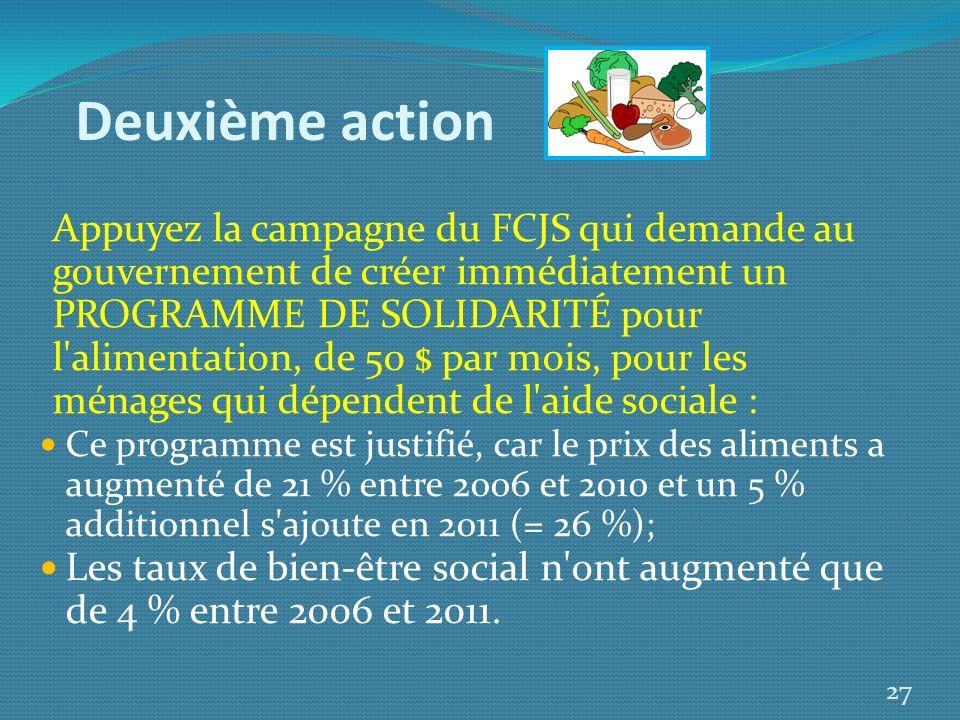 Deuxième action Appuyez la campagne du FCJS qui demande au gouvernement de créer immédiatement un PROGRAMME DE SOLIDARITÉ pour l'alimentation, de 50 $