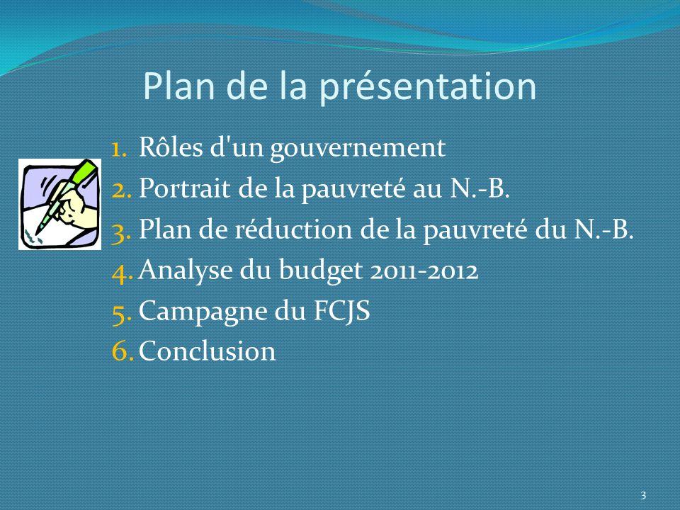 Plan de la présentation 1. Rôles d'un gouvernement 2. Portrait de la pauvreté au N.-B. 3. Plan de réduction de la pauvreté du N.-B. 4. Analyse du budg