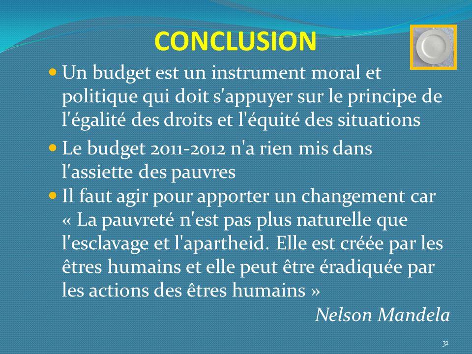 CONCLUSION Un budget est un instrument moral et politique qui doit s'appuyer sur le principe de l'égalité des droits et l'équité des situations Le bud