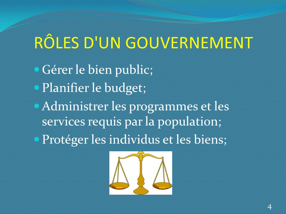RÔLES D'UN GOUVERNEMENT Gérer le bien public; Planifier le budget; Administrer les programmes et les services requis par la population; Protéger les i