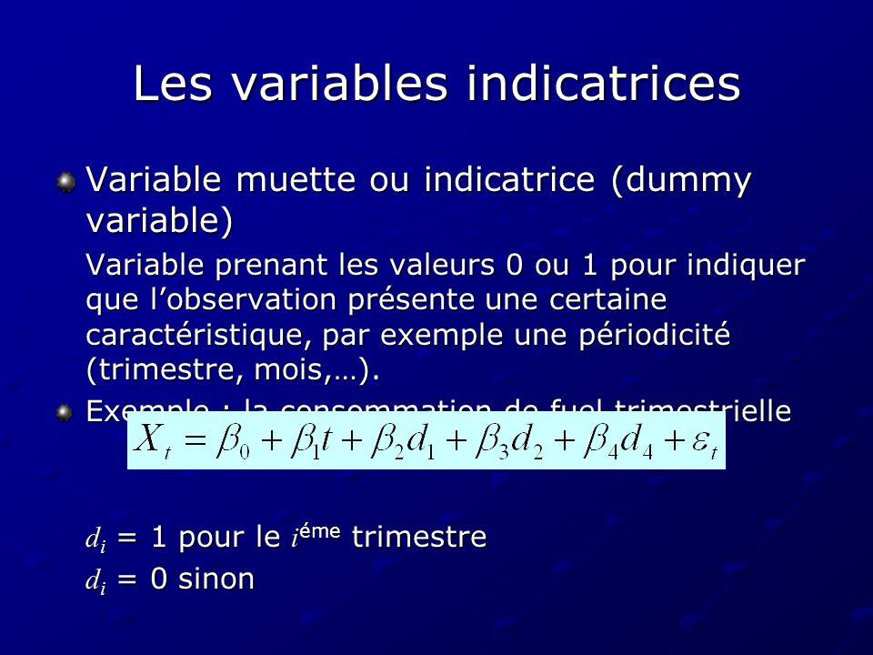 Les variables indicatrices Variable muette ou indicatrice (dummy variable) Variable prenant les valeurs 0 ou 1 pour indiquer que lobservation présente