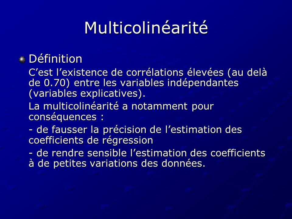 Multicolinéarité Définition Cest lexistence de corrélations élevées (au delà de 0.70) entre les variables indépendantes (variables explicatives). La m