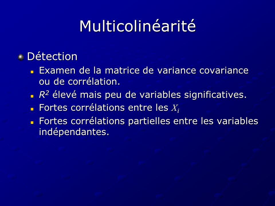 Multicolinéarité Détection Examen de la matrice de variance covariance ou de corrélation. Examen de la matrice de variance covariance ou de corrélatio