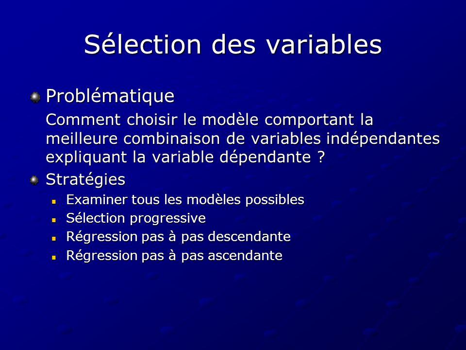 Sélection des variables Problématique Comment choisir le modèle comportant la meilleure combinaison de variables indépendantes expliquant la variable