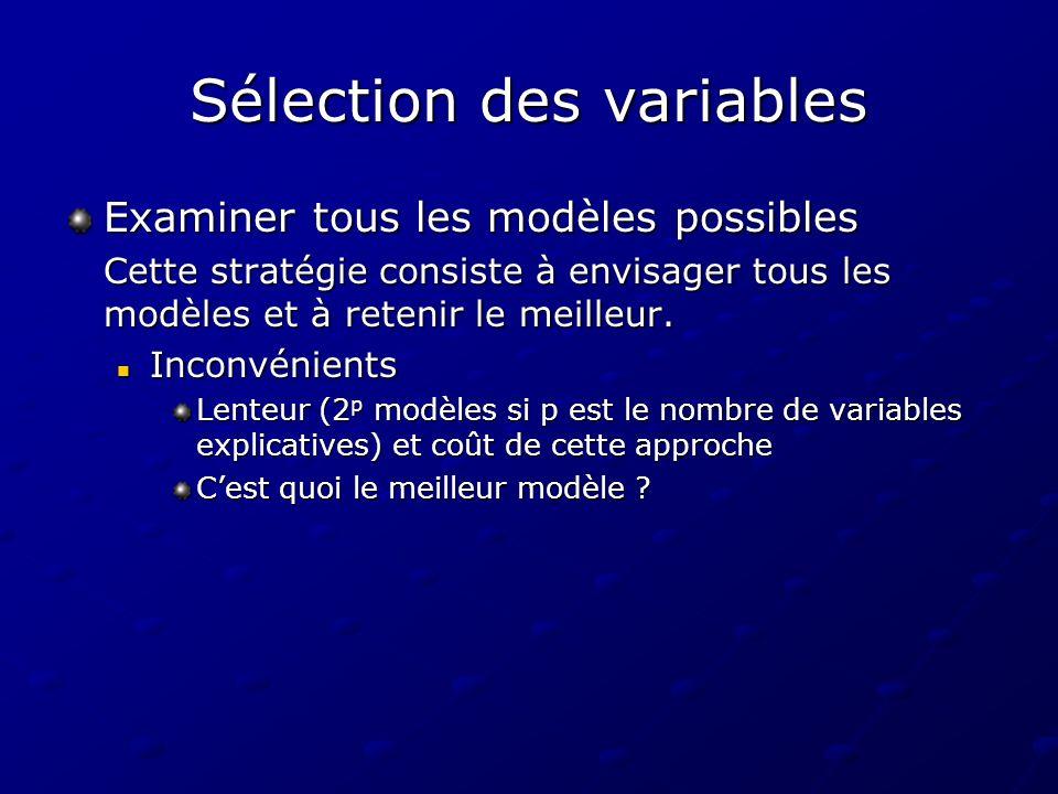 Sélection des variables Examiner tous les modèles possibles Cette stratégie consiste à envisager tous les modèles et à retenir le meilleur. Inconvénie