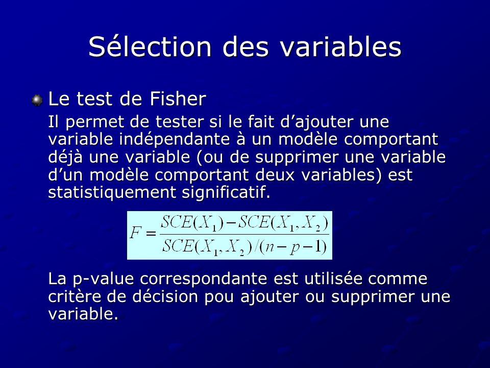 Sélection des variables Le test de Fisher Il permet de tester si le fait dajouter une variable indépendante à un modèle comportant déjà une variable (