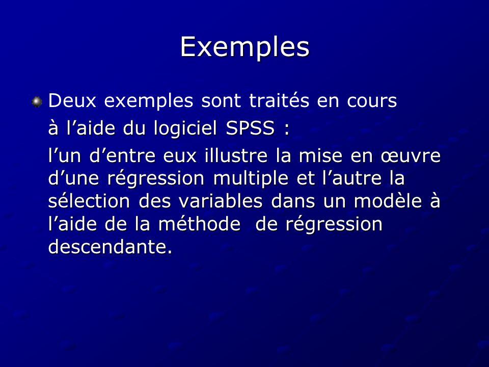 Exemples Deux exemples sont traités en cours à laide du logiciel SPSS : lun dentre eux illustre la mise en œuvre dune régression multiple et lautre la