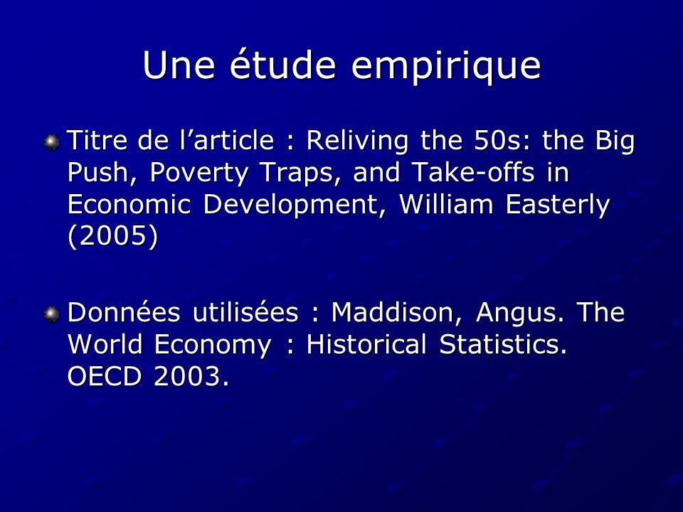 Une étude empirique Titre de larticle : Reliving the 50s: the Big Push, Poverty Traps, and Take-offs in Economic Development, William Easterly (2005)