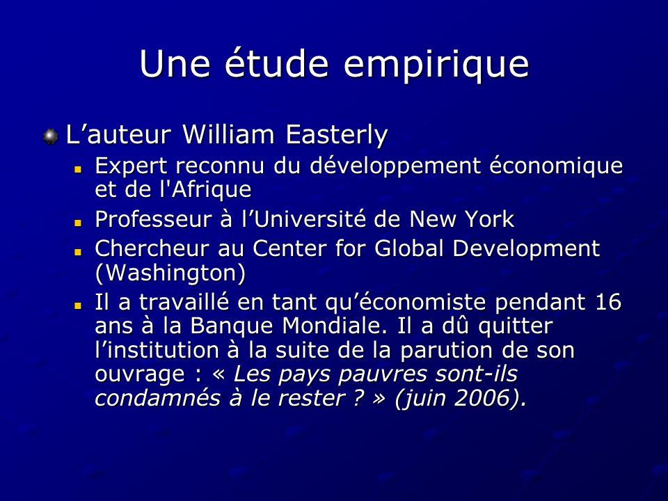 Une étude empirique Lauteur William Easterly Expert reconnu du développement économique et de l'Afrique Expert reconnu du développement économique et