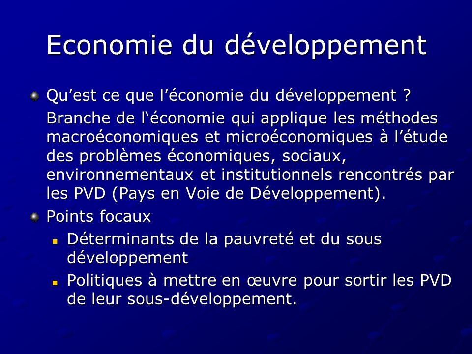Economie du développement Quest ce que léconomie du développement ? Branche de léconomie qui applique les méthodes macroéconomiques et microéconomique