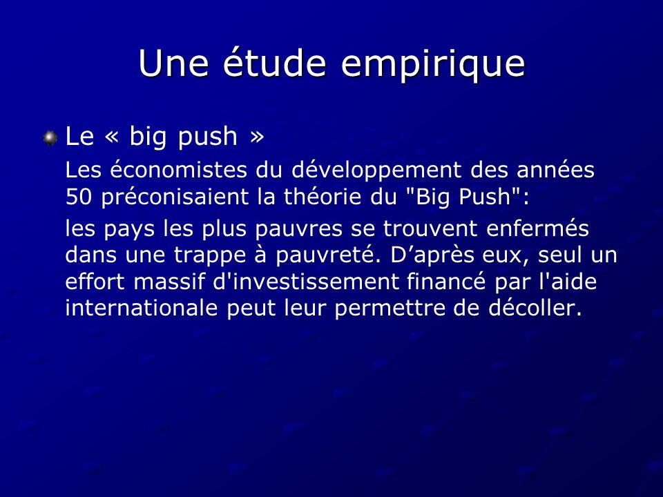 Une étude empirique Le « big push » Les économistes du développement des années 50 préconisaient la théorie du