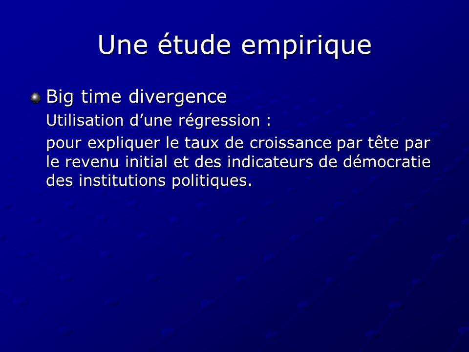 Une étude empirique Big time divergence Utilisation dune régression : pour expliquer le taux de croissance par tête par le revenu initial et des indic