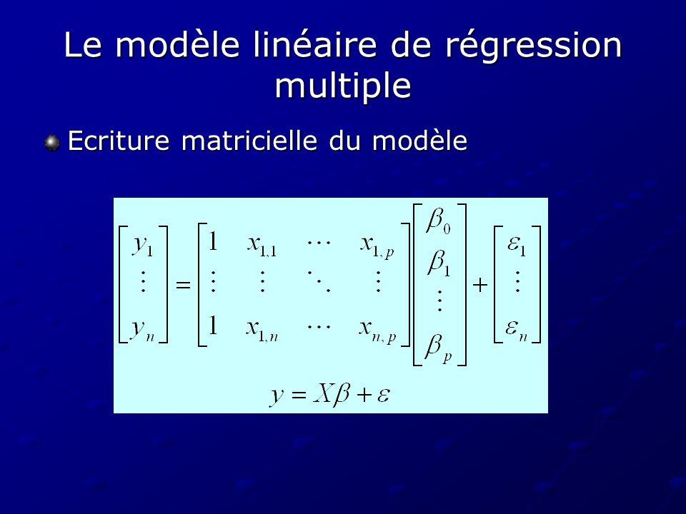 Le modèle linéaire de régression multiple Ecriture matricielle du modèle