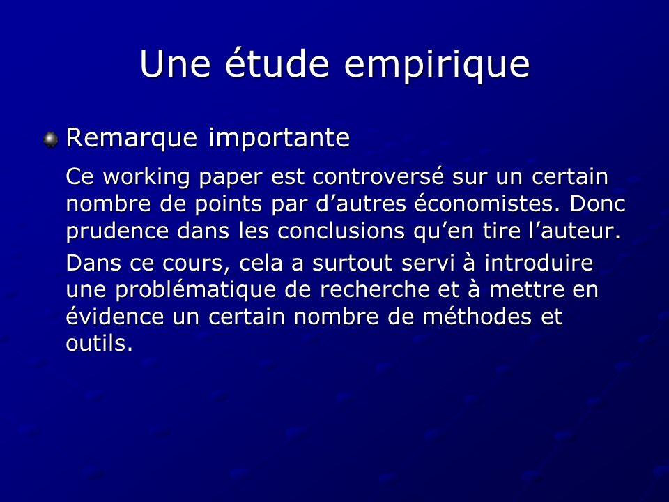 Une étude empirique Remarque importante Ce working paper est controversé sur un certain nombre de points par dautres économistes. Donc prudence dans l