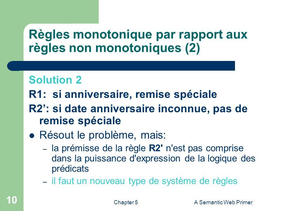 Chapter 5A Semantic Web Primer 10 Règles monotonique par rapport aux règles non monotoniques (2) Solution 2 R1: si anniversaire, remise spéciale R2: s