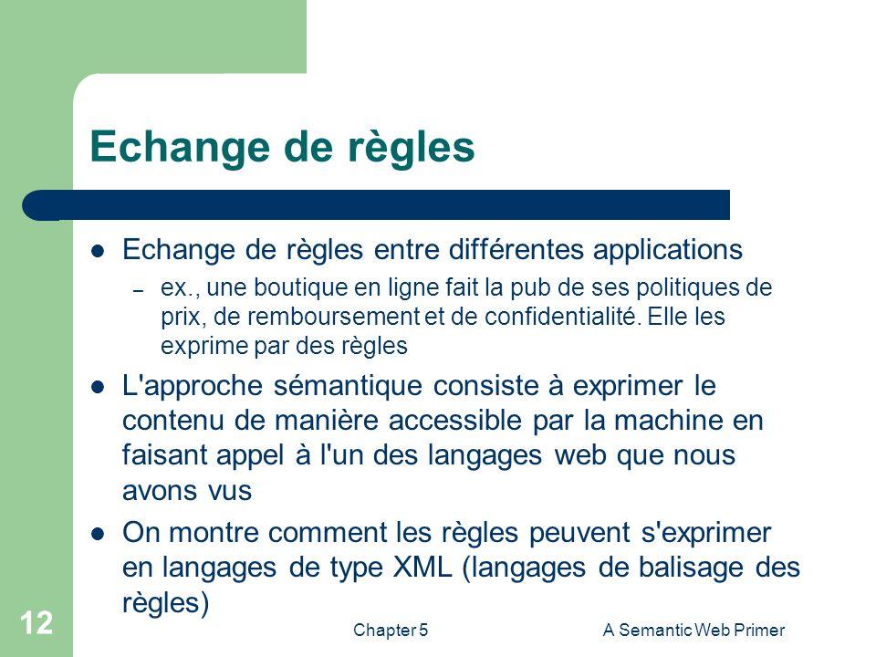 Chapter 5A Semantic Web Primer 12 Echange de règles Echange de règles entre différentes applications – ex., une boutique en ligne fait la pub de ses p