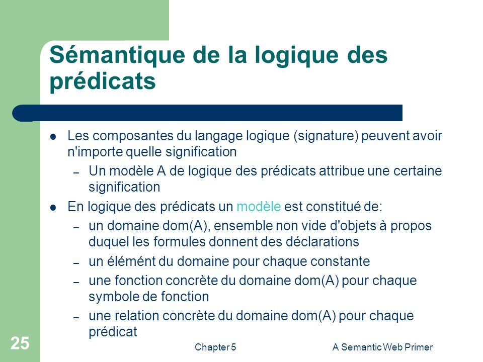Chapter 5A Semantic Web Primer 25 Sémantique de la logique des prédicats Les composantes du langage logique (signature) peuvent avoir n'importe quelle
