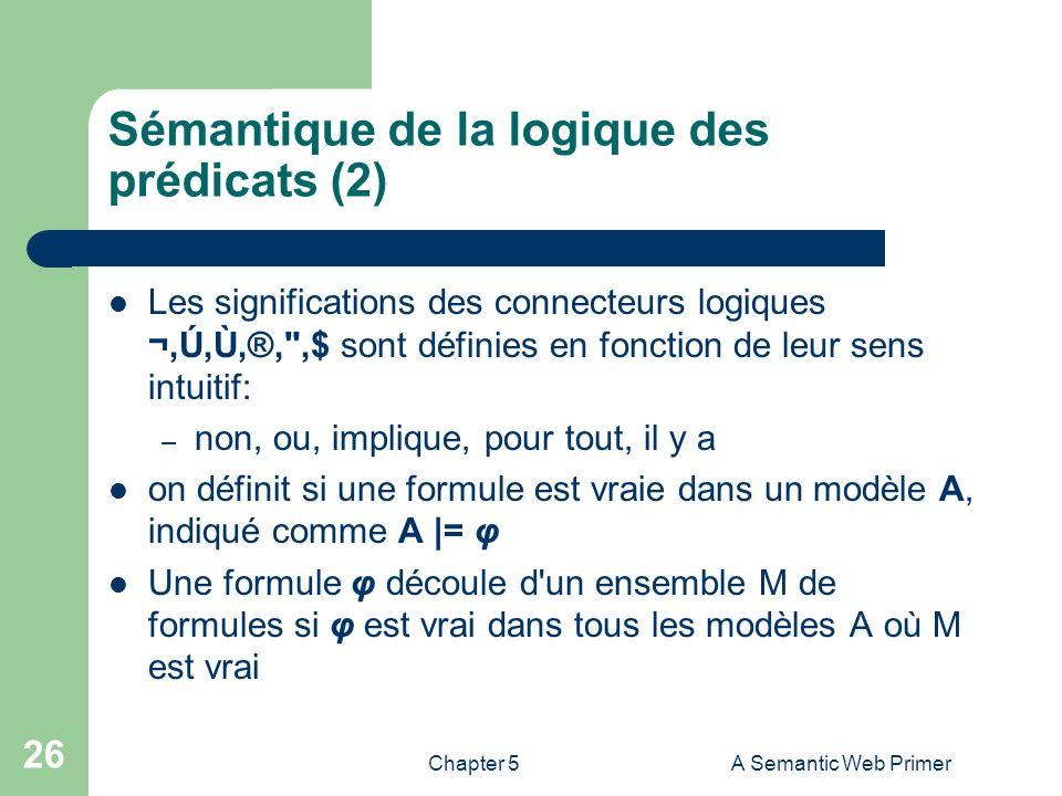 Chapter 5A Semantic Web Primer 26 Sémantique de la logique des prédicats (2) Les significations des connecteurs logiques ¬,Ú,Ù,®,