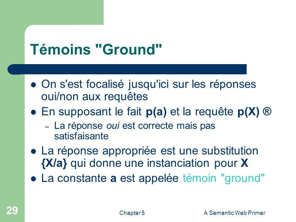 Chapter 5A Semantic Web Primer 29 Témoins