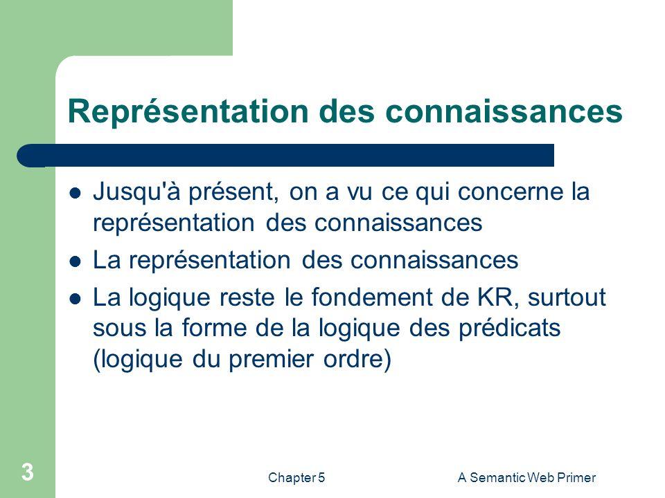 Chapter 5A Semantic Web Primer 3 Représentation des connaissances Jusqu'à présent, on a vu ce qui concerne la représentation des connaissances La repr