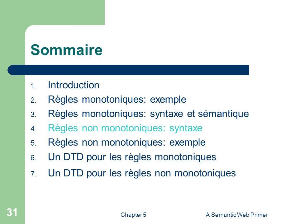 Chapter 5A Semantic Web Primer 31 Sommaire 1. Introduction 2. Règles monotoniques: exemple 3. Règles monotoniques: syntaxe et sémantique 4. Règles non
