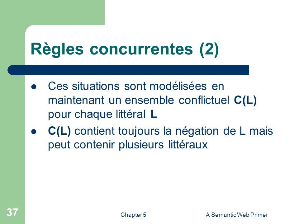 Chapter 5A Semantic Web Primer 37 Règles concurrentes (2) Ces situations sont modélisées en maintenant un ensemble conflictuel C(L) pour chaque littér