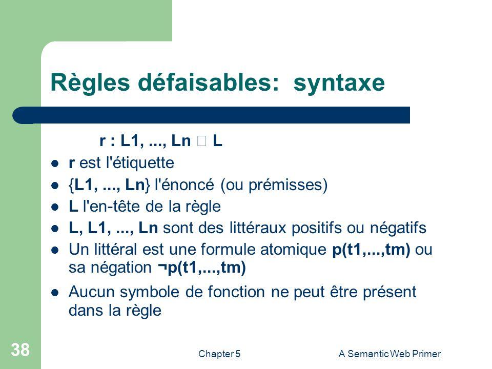 Chapter 5A Semantic Web Primer 38 Règles défaisables: syntaxe r : L1,..., Ln L r est l'étiquette {L1,..., Ln} l'énoncé (ou prémisses) L l'en-tête de l