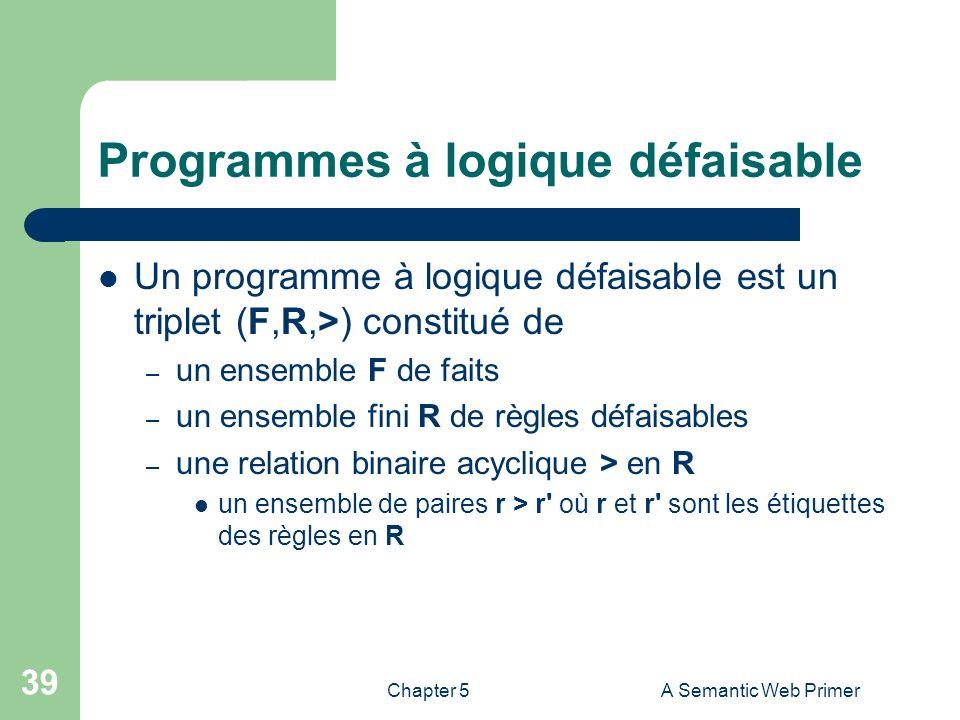 Chapter 5A Semantic Web Primer 39 Programmes à logique défaisable Un programme à logique défaisable est un triplet (F,R,>) constitué de – un ensemble