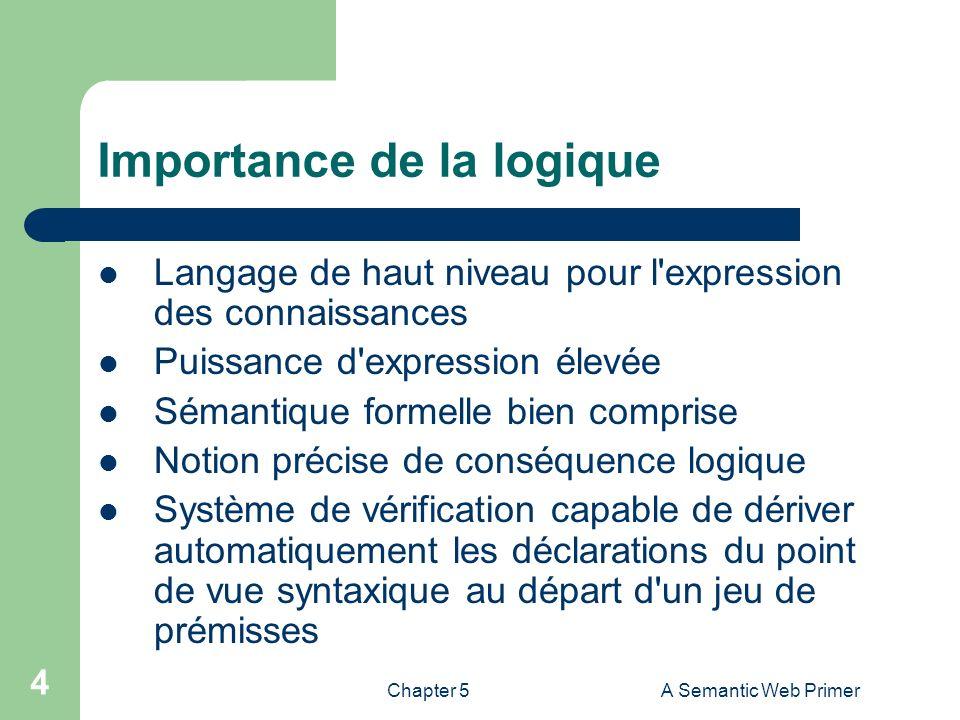 Chapter 5A Semantic Web Primer 4 Importance de la logique Langage de haut niveau pour l'expression des connaissances Puissance d'expression élevée Sém