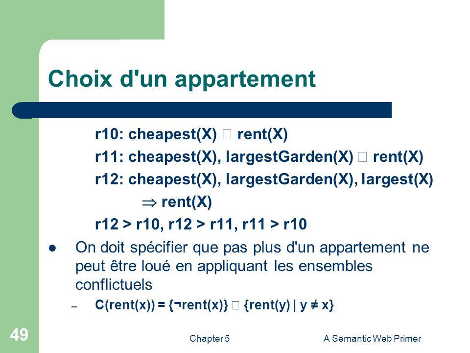 Chapter 5A Semantic Web Primer 49 Choix d'un appartement r10: cheapest(X) rent(X) r11: cheapest(X), largestGarden(X) rent(X) r12: cheapest(X), largest