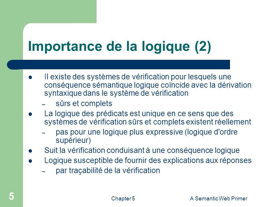 Chapter 5A Semantic Web Primer 5 Importance de la logique (2) Il existe des systèmes de vérification pour lesquels une conséquence sémantique logique